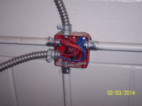 junction box with missing cover plate