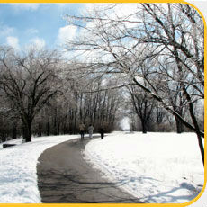 Pine Hill Lakes Park Bike path in winter